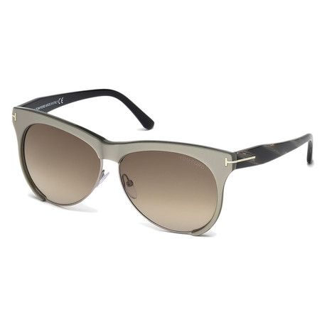 Women's FT0365-38B-59 Leona Sunglasses // Bronze + Smoke Brown