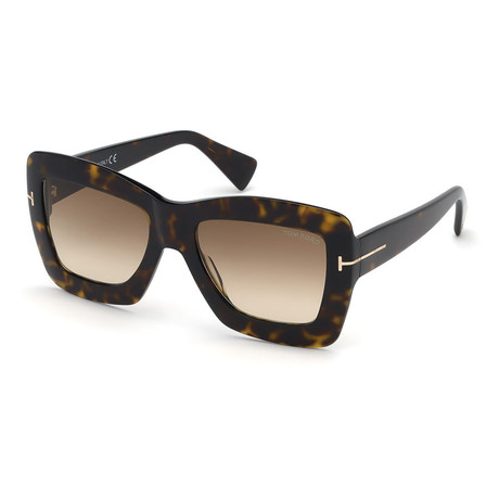 Women's FT0664-52F-55 Hutton Sunglasses // Dark Havana + Gradient Brown
