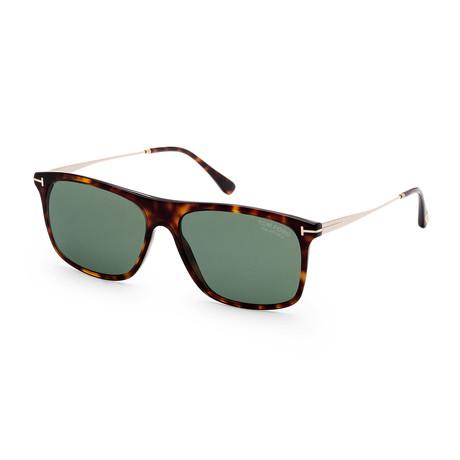 Men's FT0588-52R-57 Max Polarized Sunglasses // Dark Havana + Green