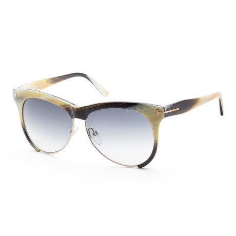 Women's FT0365-60B-59 Leona Sunglasses // Beige Horn + Smoke Gradient