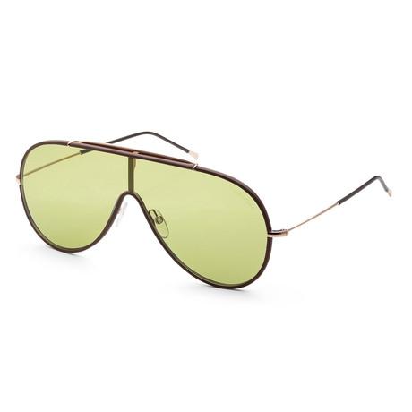Unisex FT0671-48N-00 Mack Sunglasses // Shiny Dark Brown + Green