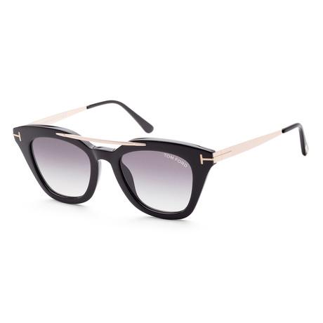 Women's FT0575-01B-49 Anna Sunglasses // Shiny Black + Blue Gray
