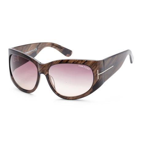 Women's FT0404-50B-61 Felicity Sunglasses // Dark Brown + Brown Gradient