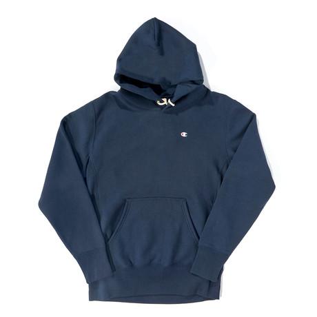 Reverse Weave Pullover Hoodie // Navy (XS)
