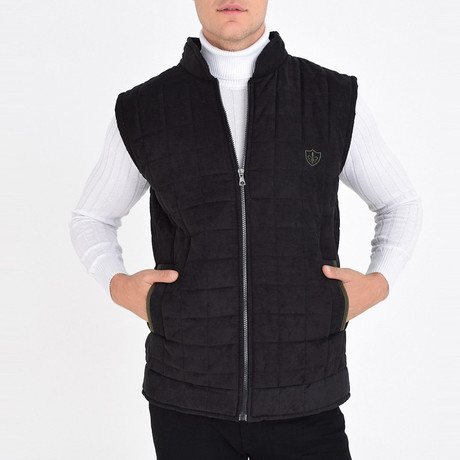 Quilted Textured Vest // Black (S)