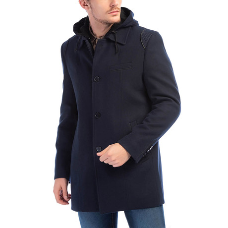 Hamptoms Overcoat // Dark Blue (Small)