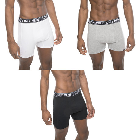 3 Pack Boxer Brief // Black + White + Gray (S)