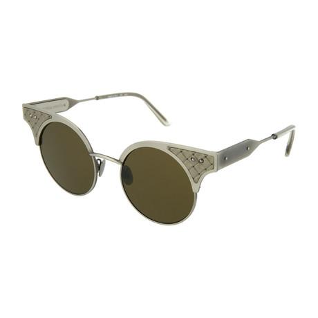 Women's Round Sunglasses // Silver + Brown