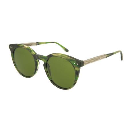 Women's Round Sunglasses // Green + Gold