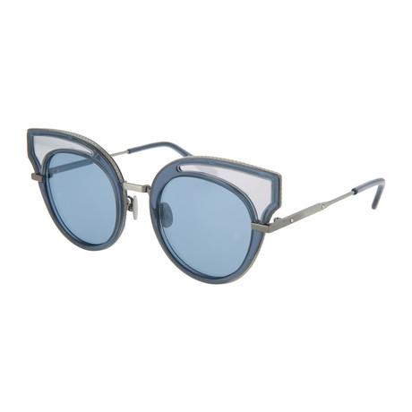 Women's Cat Eye Sunglasses // Shiny Translucent Blue + White