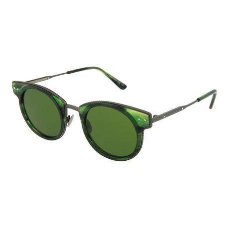 Unisex Round Sunglasses // Green + Ruthenium