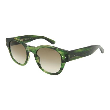 Unisex Round Sunglasses // Green + Brown
