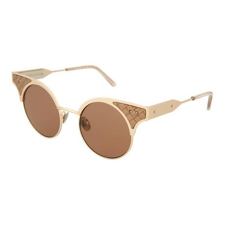 Women's Round Sunglasses // Gold + Brown