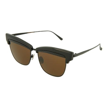 Unisex Cat Eye Sunglasses // Black + Brown