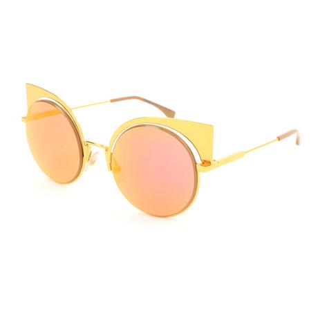 Women's 0177 Round Cat Eye Sunglasses // Yellow + Gold
