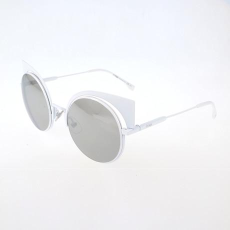 Women's 0177 Round Cat Eye Sunglasses // White