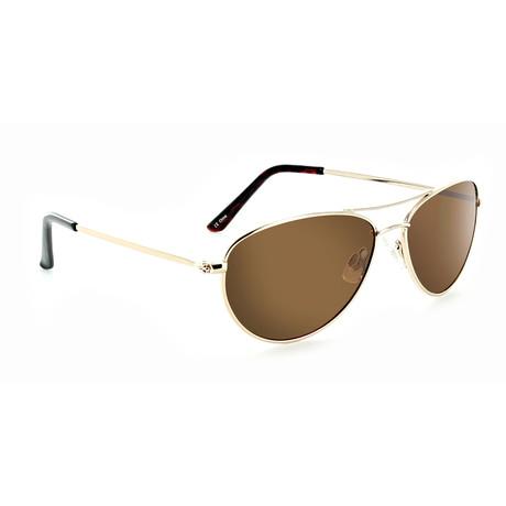 Unisex Sliver Polarized Sunglasses // Gold
