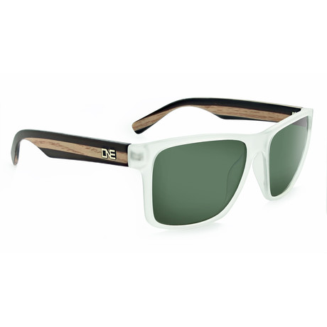Unisex Bankroll Polarized Sunglasses // Matte Crystal + Wood