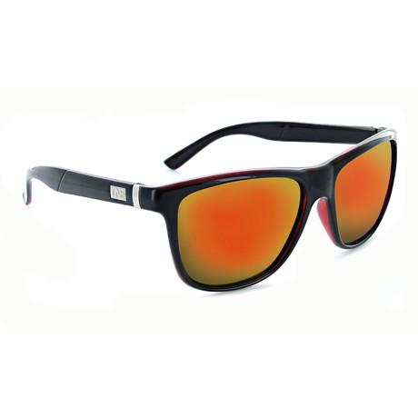 Unisex Hobnob Polarized Sunglasses // Shiny Crystal Black + Red