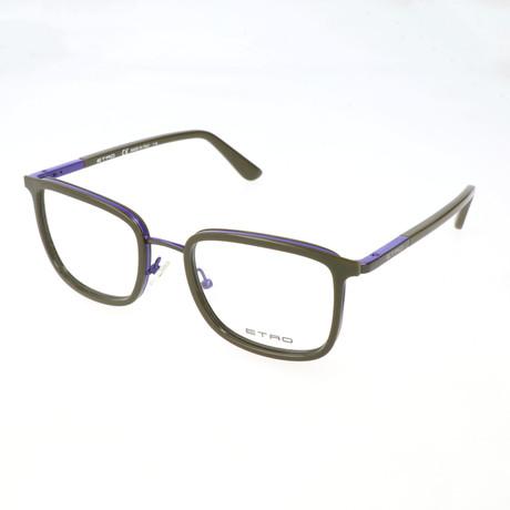 Men's ET2103 335 Optical Frames // Khaki + Violet