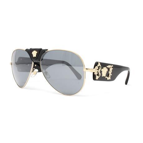 Versace // Men's VE2150Q Sunglasses // Pale Gold + Black