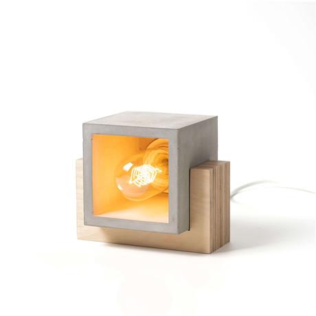 Decorative Square Rustic Table Lamp // Gray