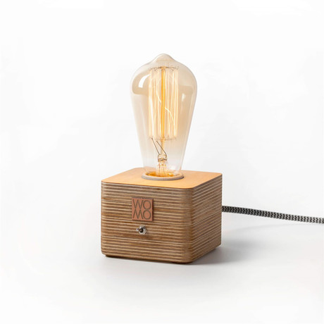 Wooden Table Lamp // Yellow