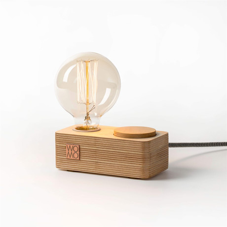 Wooden Table Lamp + Dimmer // Natural Wood