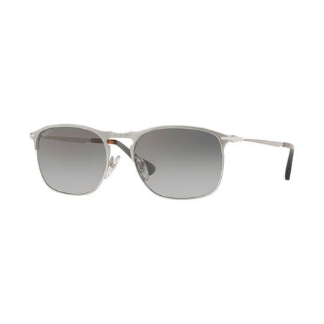 Men's Polarized Sunglasses // Matte Silver + Gray Gradient