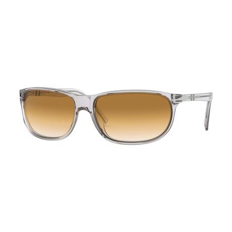 Men's Sunglasses // Gray Transparent + Brown Gradient