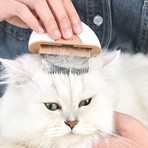 Lynx // 2-in-1 Travel Connecting Grooming Pet Comb + Deshedder // Small (Brown)