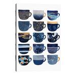 """Pretty Blue Coffee Cups I // Elisabeth Fredriksson (26""""W x 40""""H x 1.5""""D)"""