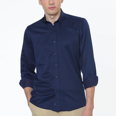 Peter Button Up Shirt // Dark Blue (Small)