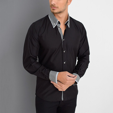 Aiden Button-Up Shirt // Black (Small)