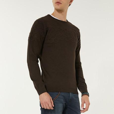 Wool Blend Textured Crewneck Sweater // Brown (XS)