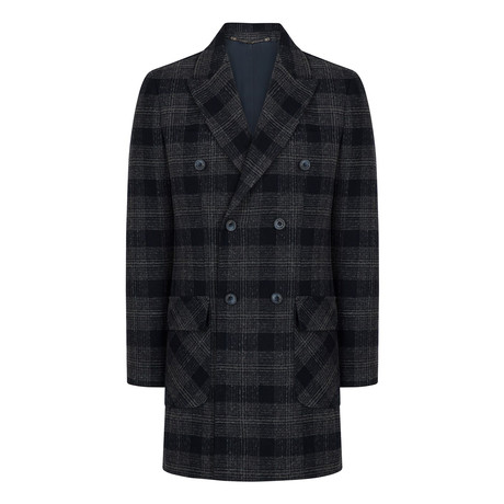 Double Breasted Wool Blend Car Coat // Navy Blue (XS)