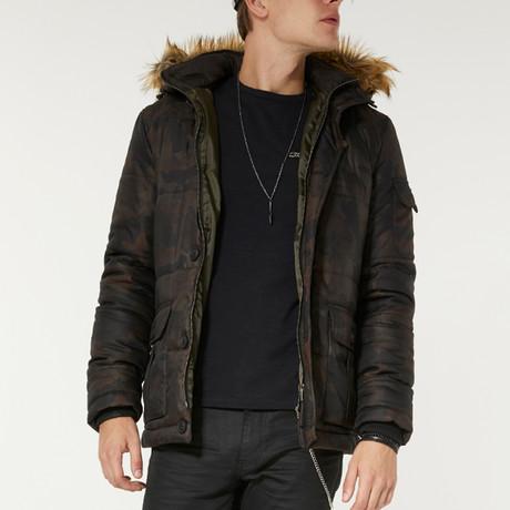 Hooded Camo Puffer Jacket // Green (XS)