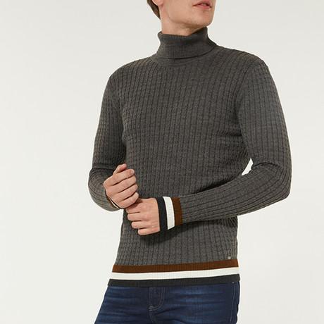 Wool Blend Statement Turtleneck Sweater // Anthracite (XS)