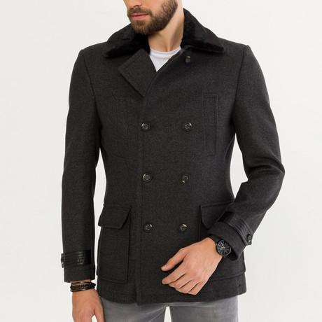 Collard Wool Blend Jacket // Anthracite (XS)