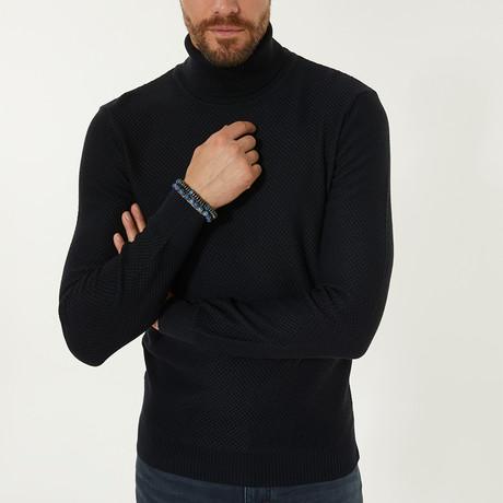 Wool Blend Textured Turtleneck Sweater // Navy Blue (XS)