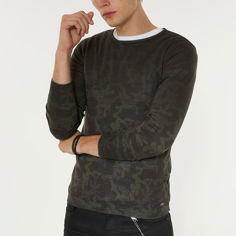Lightweight Camo Print Sweater // Green (XS)