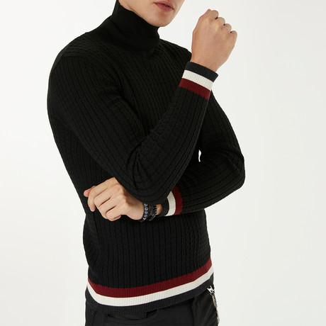 Wool Blend Statement Turtleneck Sweater // Black (XS)