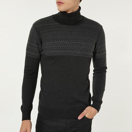 Fair Isle Turtleneck Sweater // Anthracite (XS)