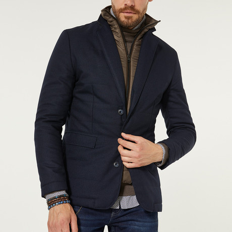 Lapel Puffer Jacket // Navy Blue (XS)