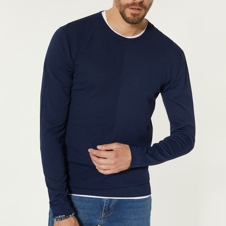 Solid Color Crewneck Sweater // Navy Blue (XS)