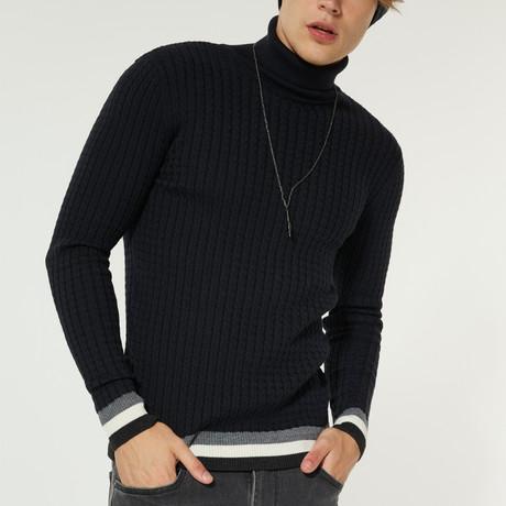 Wool Blend Statement Turtleneck Sweater // Navy Blue (XS)