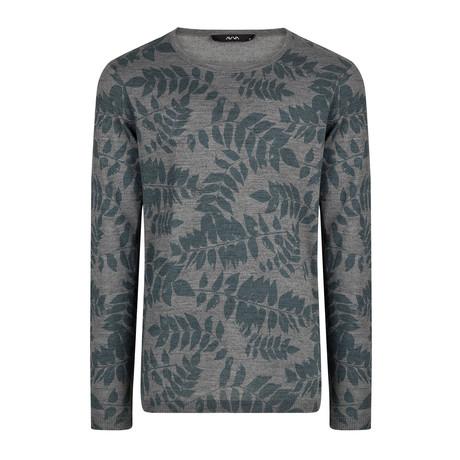 Wool Blend Lightweight Leaf Print Sweater // Gray (XS)