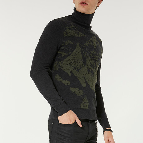Nature Printed Turtleneck Sweater // Anthracite (XS)