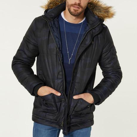 Hooded Camo Puffer Jacket // Navy Blue (XS)