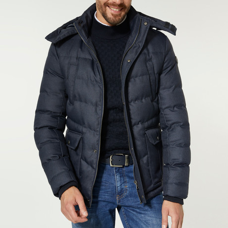 Elevated Hooded Puffer Jacket // Navy Blue (XS)